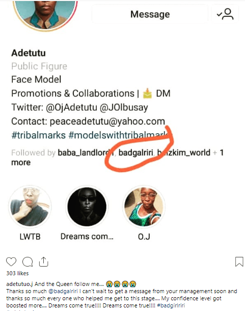 Nigerian model with tribal mark gets a followback from Rihanna