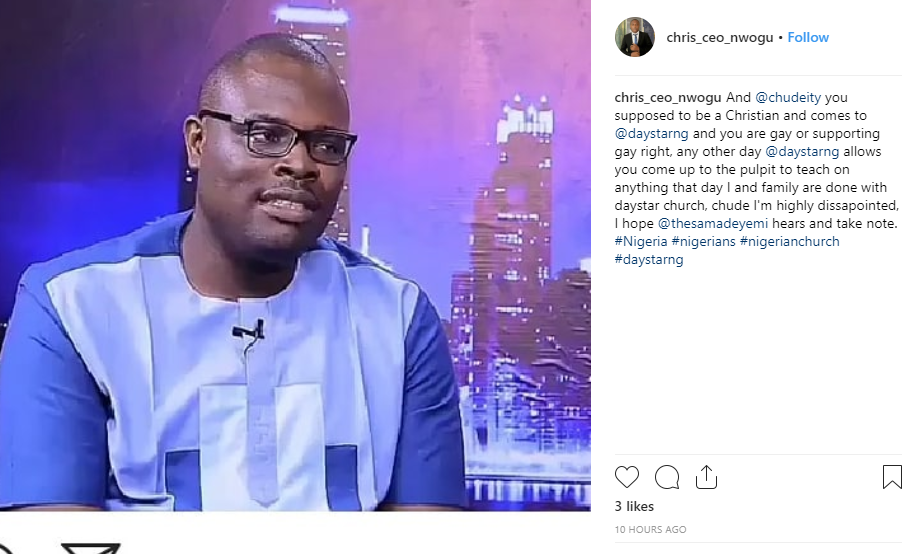 Nigerian man threatens to leave Daystar Christian Center following Chude Jideonwo