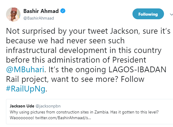 Presidential aide, Bashir Ahmad, reacts to claims he shared  Zambia road construction photos claiming they are of President Buhari