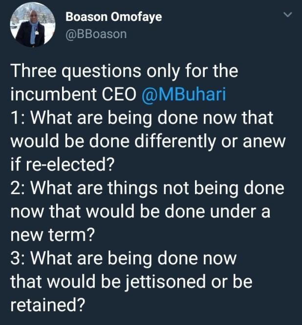 Nigerian journalist asks President Buhari three very interesting questions
