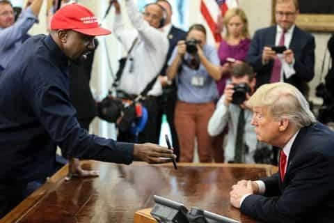 "Kanye West tells Donald Trump that wearing the MAGA hat makes him feel ""like Superman"""