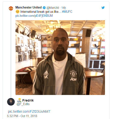 Manchester United shares photo of Kanye West in the team