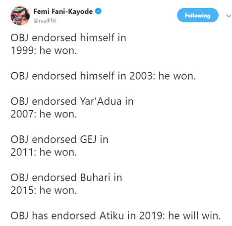 FFK list names of presidential candidates who won elections after Obasanjo
