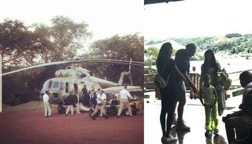 Photos/Video: Kanye West arrives in Uganda with Kim Kardashian & daughter North