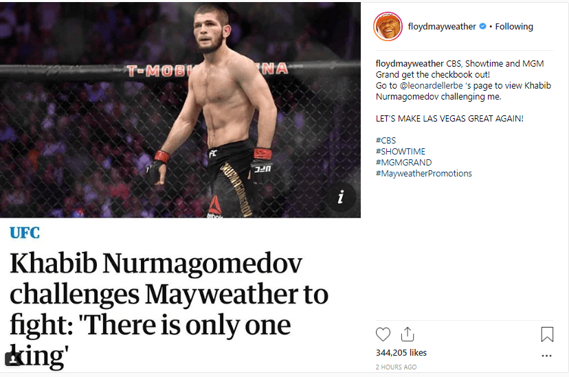 After beating McGregor, Khabib calls out Mayweather and he accepts his challenge to prove himself as