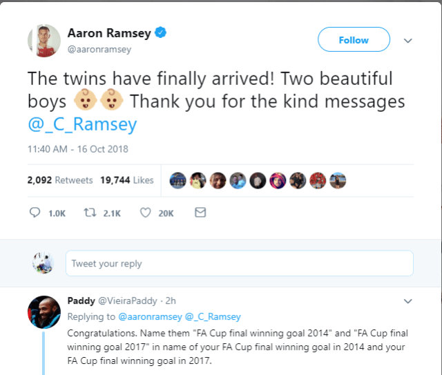 "Arsenal star Aaron Ramsey announces the birth of his twin boys and a fan suggests he named them ""FA Cup final winning goal 2014 and 2017"""