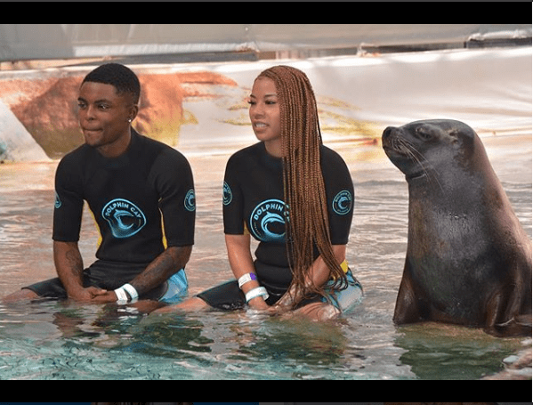 Lovely photos of Keyshia Cole, 37, and her beau Niko Khale as they celebrate his 23rd birthday at the Dolphin Cay Atlantis