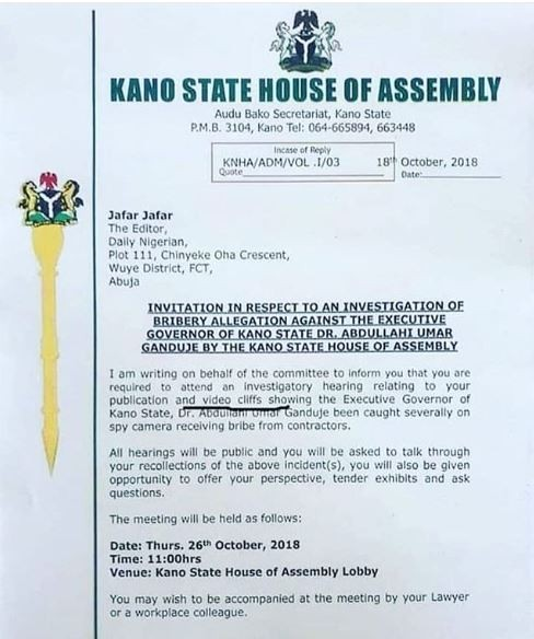 #GandujeGate: Kano State House of Assembly invites Daily?Nigerian?publisher for questioning