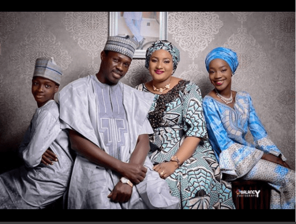 Beautiful family of Kannywood actor Ali Nuhu, his wife and their children?