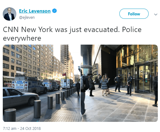 Time Warner building in New York from where CNN broadcasts is being evacuated due to suspicious package