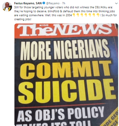 Festus Keyamo pulls out 2004 newspaper headline which says many Nigerians committed suicide during Obasanjo/Atiku administration