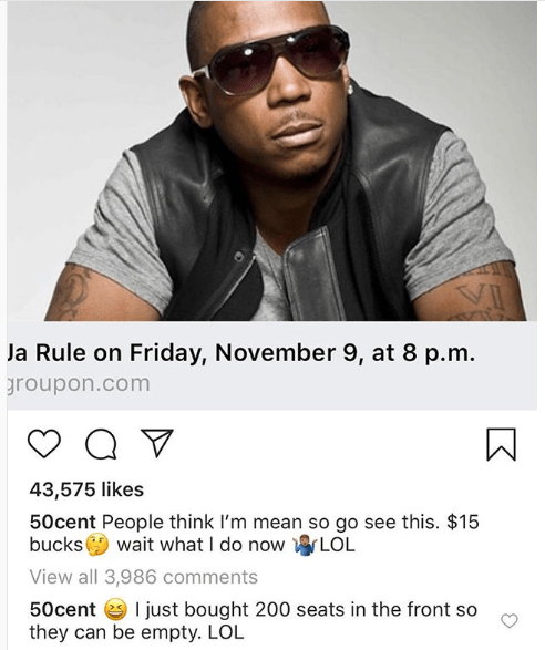 50 Cent trolls Ja Rule by purchasing 200 tickets to his concert so that the seats would stay empty (See Photos)