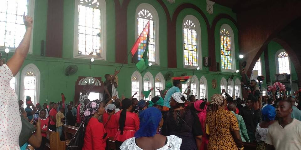 Photos: IPOB members disrupt church service in Abia after priest asked them to pray for a peaceful 2019 election