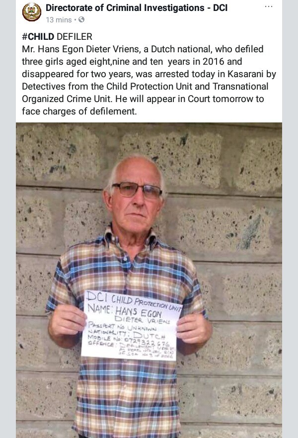 Photo: Elderly Dutch national arrested in Kenya for defiling three girls aged 8, 9 and 10