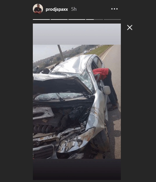 Photos: Two Nigerian DJs Kaywise and SPAXX survive ghastly accident in Abuja