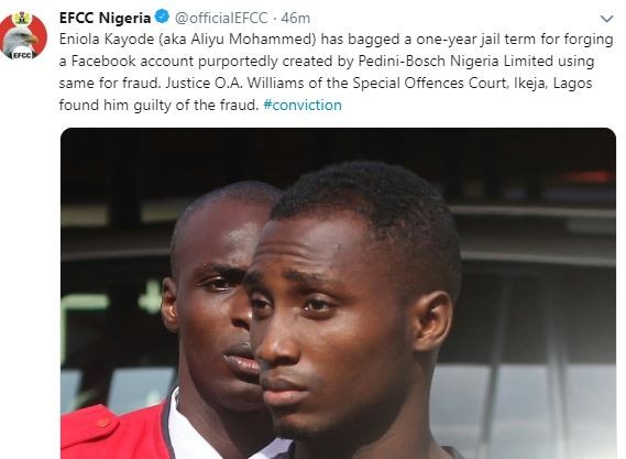 Eniola Kayode bags a one-year jail term for operating a fraudulent Facebook account (Photo)