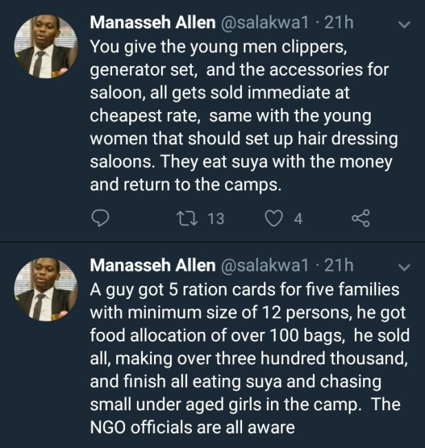 Some IDPs are scamming NGOs and living large on the profit - Twitter user claims