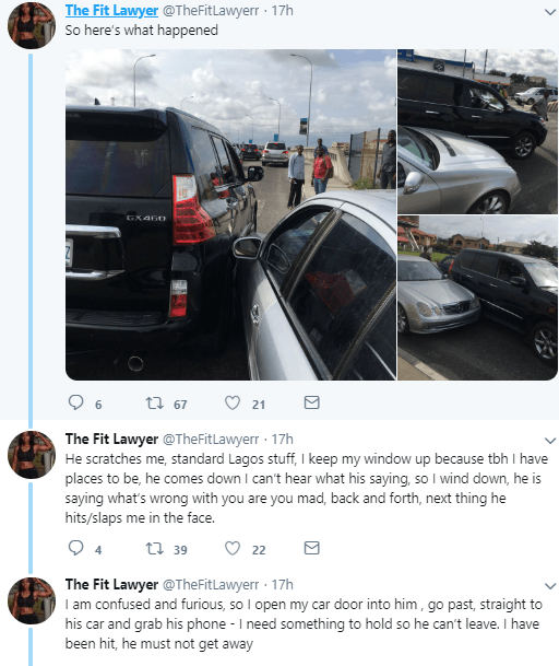 """""""Nigeria is doomed, women are not safe"""" - Lady narrates how man slapped her in traffic and police sided with him"""