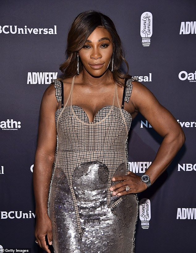 Serena Williams rocks cleavage-baring dress as she joins husband Alexis Ohanian at the Brand Genius Awards (Photos)