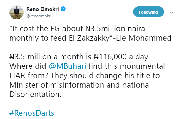 They should change the titled of Lia mohammed to minister of misinformation and disorientation - Reno Omokri