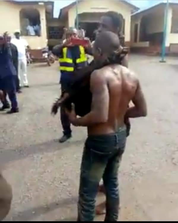 Photos: Two suspected thieves paraded with stolen goat