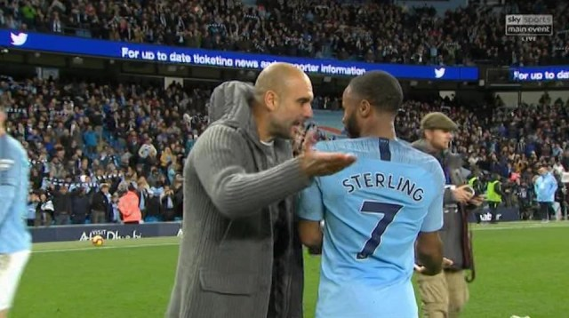 Guardiola argues with Raheem Sterling on pitch despite Mancity