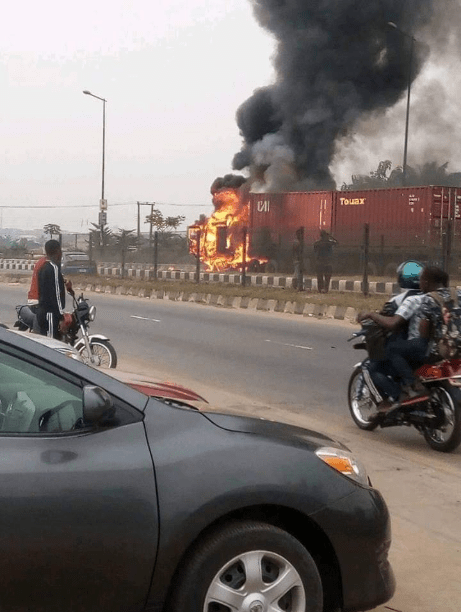 Container-laden truck goes up in flames in Ikorodu
