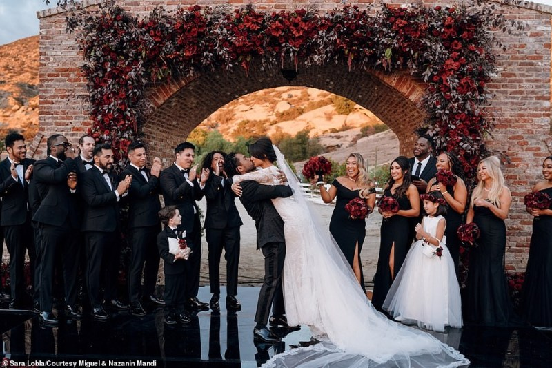 Singer Miguel & his girlfriend of 13 Years Nazanin Mandi tie the knot in a romantic wedding in LA?(Photos)