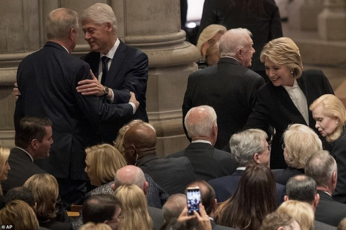 Trump, Obama, Clinton and their wives attend the memorial service of George H.W. Bush to pay their respect (Photos)