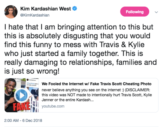 "Kim and Khloe Kardashian blast ""absolutely disgusting"" prankster for trying to break up Kylie and Travis Scott with fake cheating photo"