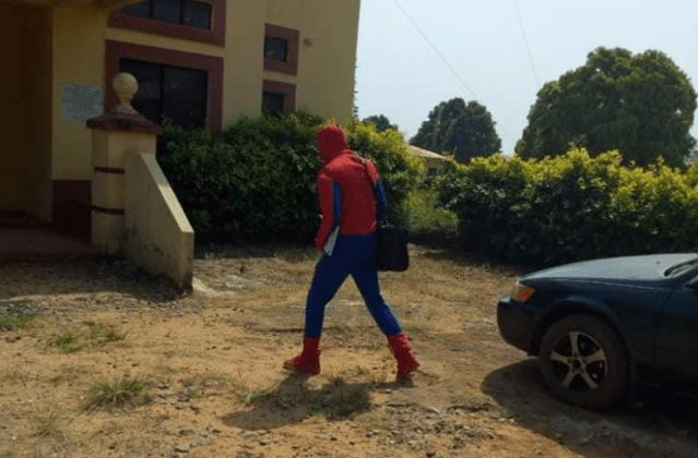 Anambra State University lecturer disguises as Spiderman so he can teach his students during ASUU strike...lol (photos)