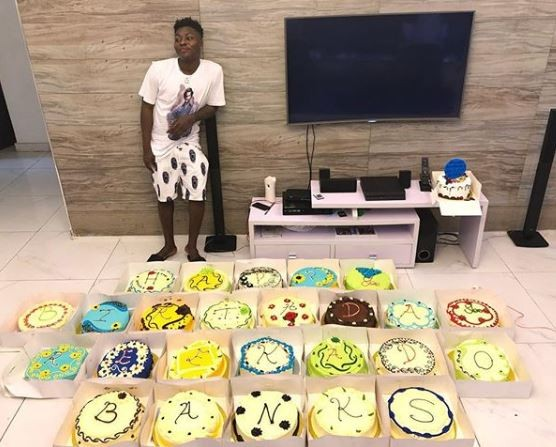 Photo; Reekado Banks receives 25 cakes to celebrate his 25th birthday