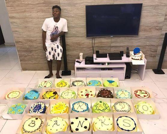 Photo; Reekado Banks receives 25 cakes to celebrate his 25th birthday