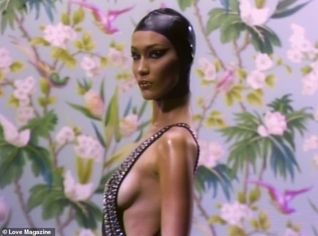 Bella Hadid poses in bedazzled swimsuits for LOVE magazine?(Photos)