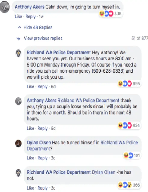 Man replies to his own Wanted post shared by police on Facebook and it