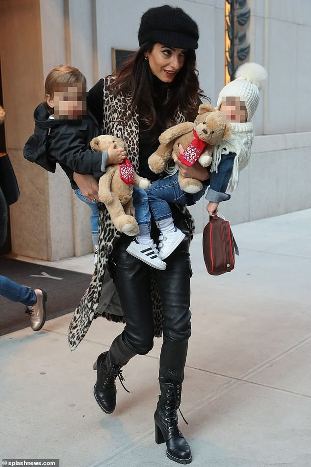 Amal Clooney steps out with her twin kids Ella and Alexander in New York (Photos)