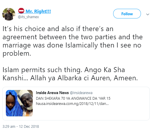 Muslim man blasted for saying he sees nothing wrong with a 70-year-old Alhaji marrying a 15-year-old girl