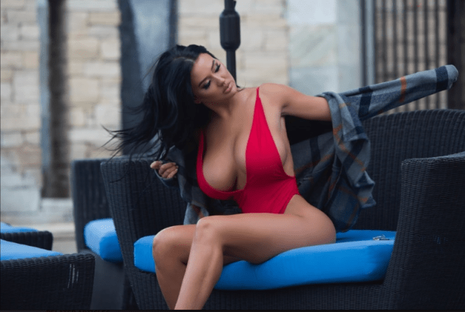 Playboy model, Becky Hudson flaunts her eye-popping assets in red hot swimsuit photos