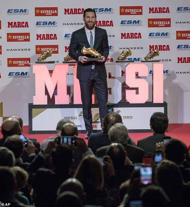 Lionel Messi receives another Golden Shoe award after outscoring Mo Salah last season (Photos)