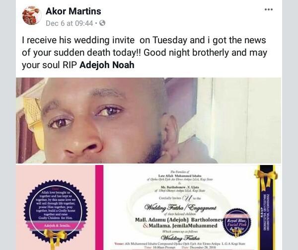 [Photos] Nigerian man dies three weeks to his wedding