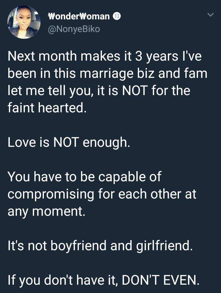 Lady who has been married for three years says love is not enough and compromise is key