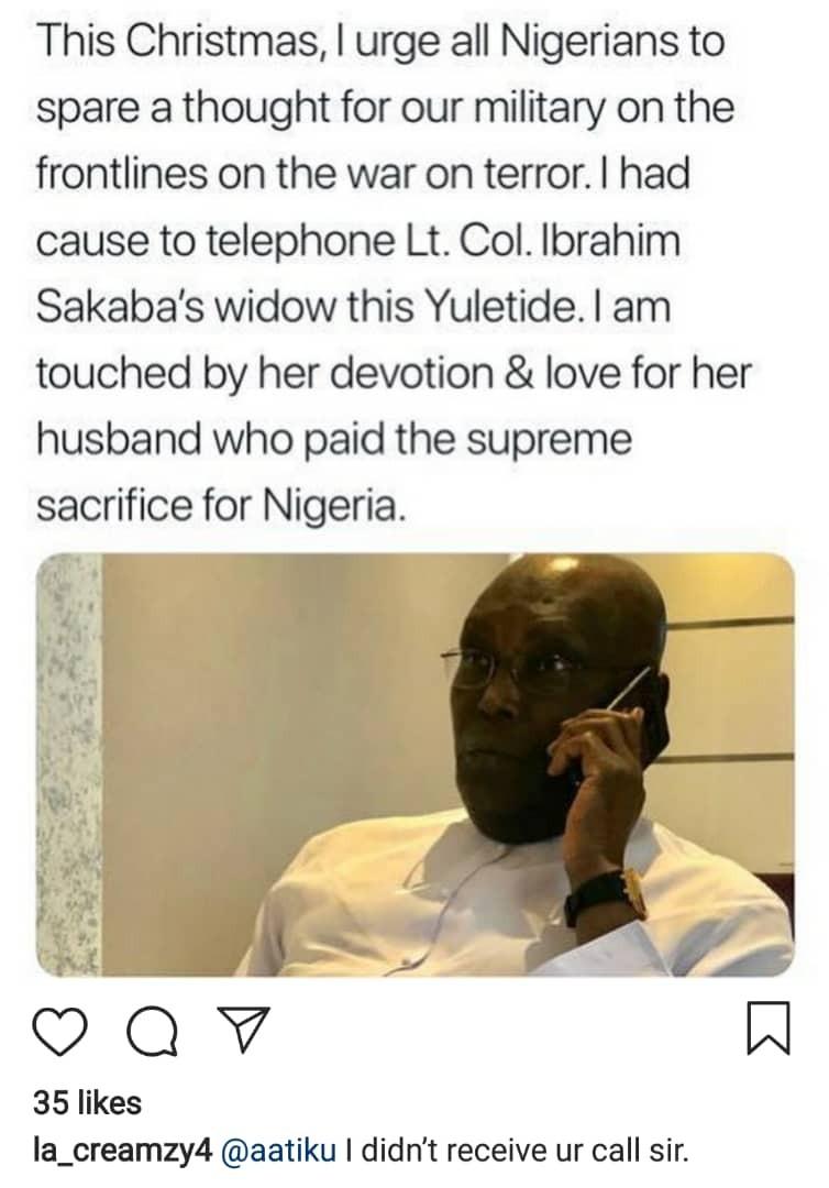 Widow of slain officer refutes Atiku