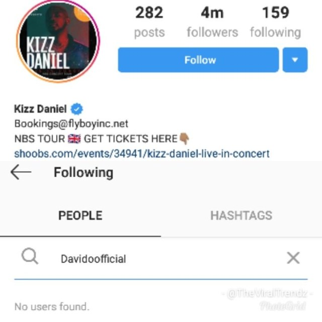 Kizz Daniel unfollows Davido on IG
