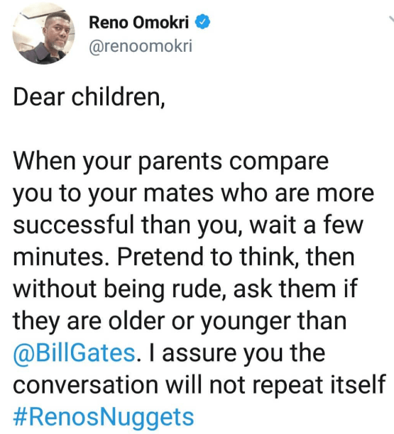 See what Reno Omokri says you should do whenever your parents compare you to your successful mates