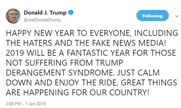 Happy New Year to everyone including the haters and fake news media - President Trump