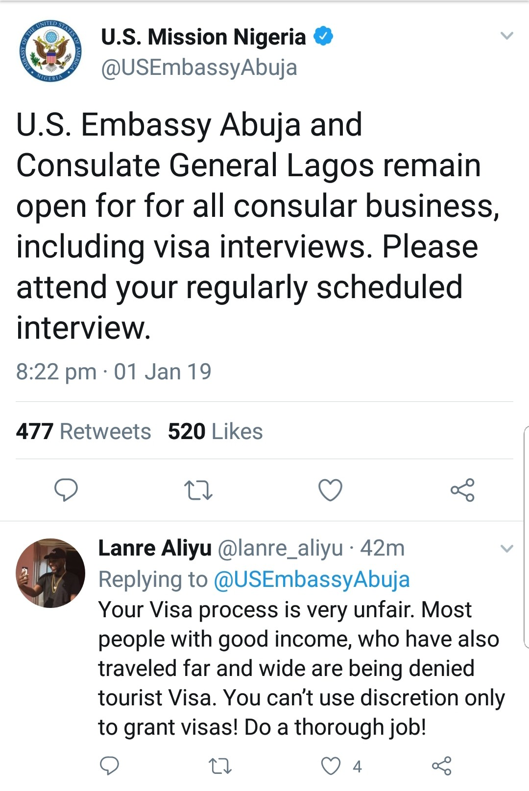 US embassy says visa interviews will still hold in Abuja and Lagos consulates