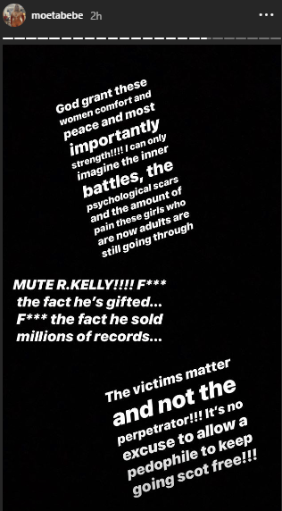 Moet Abebe blasts R. Kelly and his supporters after watching the documentary