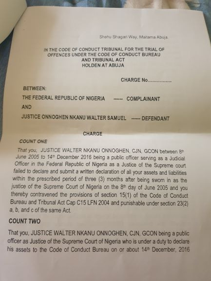 See copies of the criminal charges FG filed against CJN Walter Onnoghen (photos)