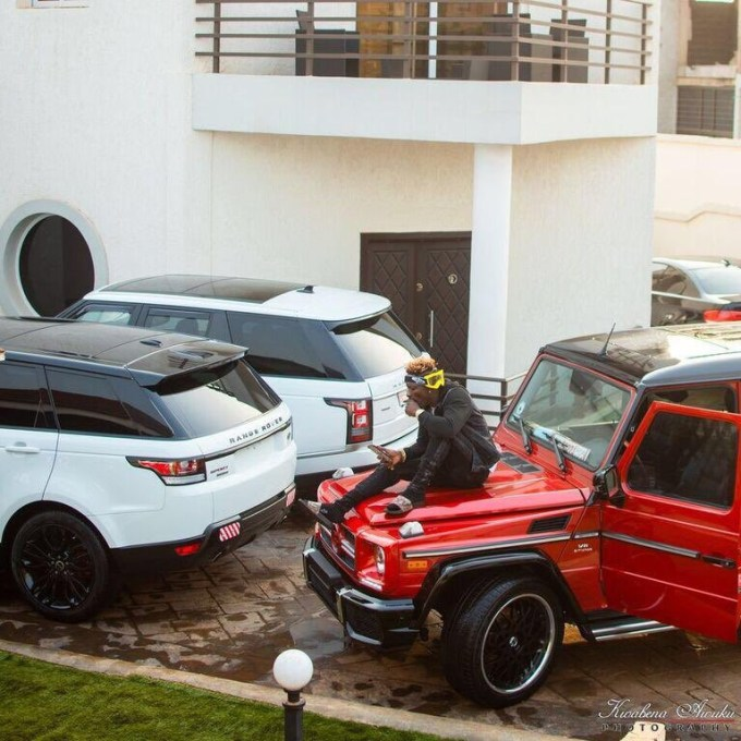 Shatta Wale shows off his expensive whips (Photos)