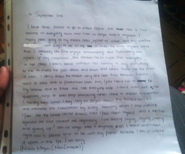 See the hearbreaking note left by 18-year-old South African pupil who committed suicide after allegedly being bullied by teacher